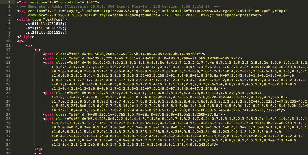 SVGをテキストエディタで開いた画面