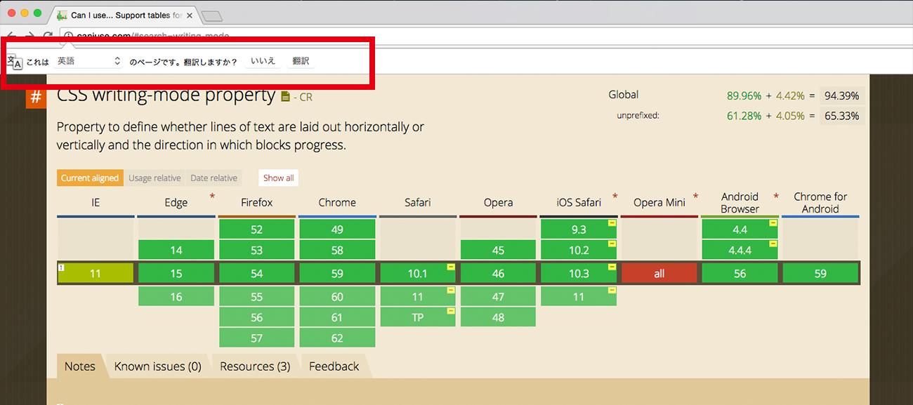 Chromeでページを開いた時に上部に翻訳機能を使用するかどうかが現れます。