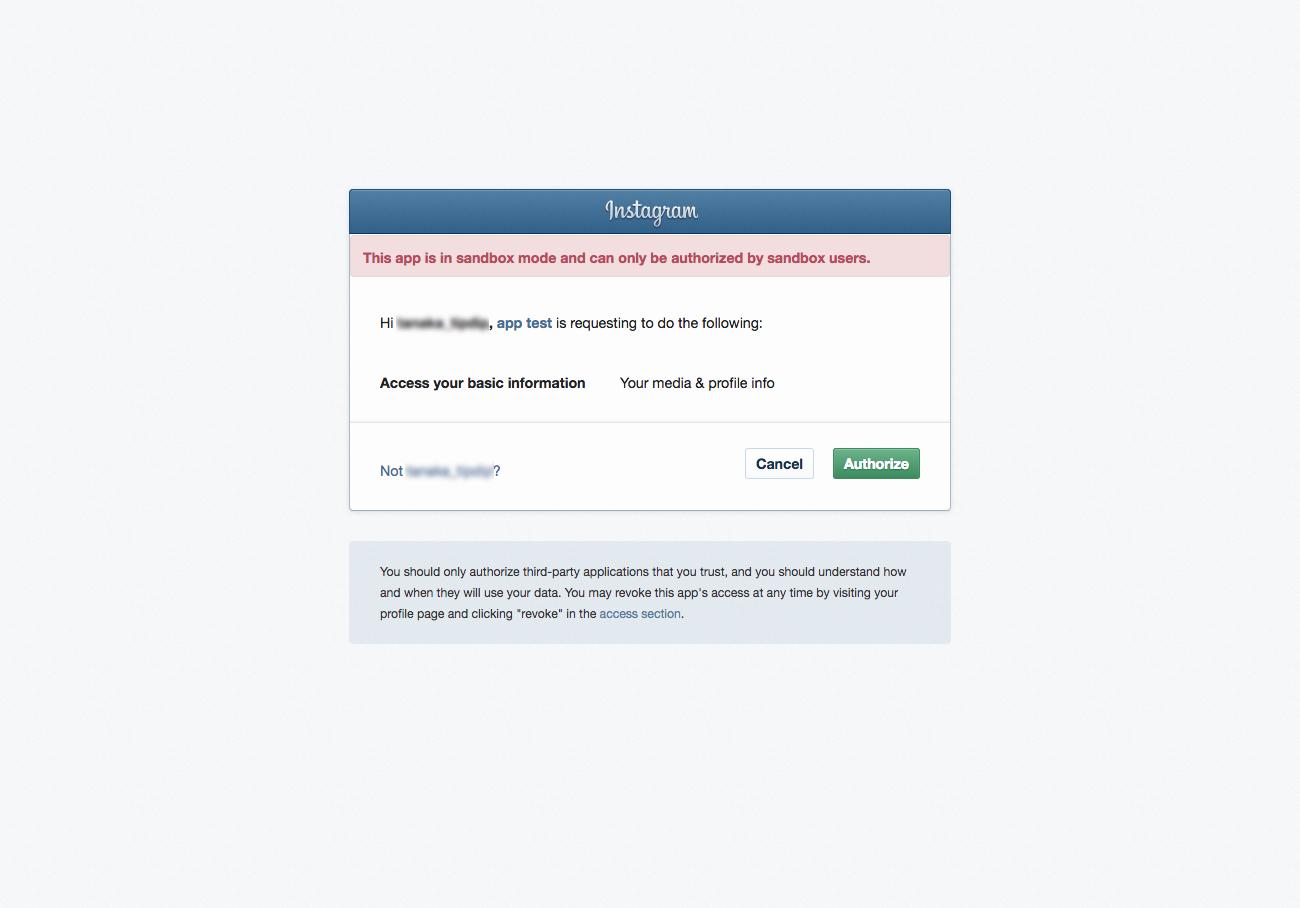 instagram apiの確認ページ